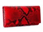 Красный женский кошелек из питона