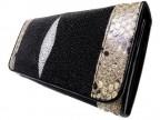 Женский бумажник из кожи ската и питона