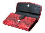 Красный женский кошелек из кожи питона