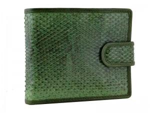 Зеленый кошелек из змеиной кожи