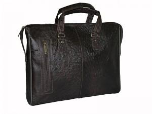 Деловая сумка-портфель из страусиной кожи