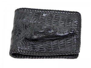 Кошелек из кожи крокодила с головой