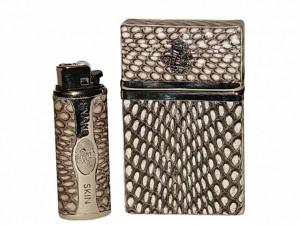 Чехлы для сигарет и зажигалки из кожи кобры
