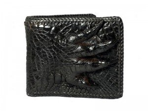 Кошелек из кожи крокодила с лапой с оплеткой