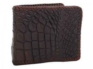 Мужской крокодиловый кошелек с оплеткой