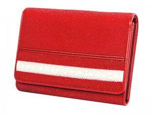 Женское портмоне из красной кожи ската