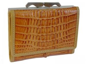 Женский кошелек из крокодила с монетницей