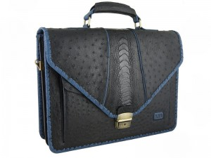 Стильный мужской портфель из страуса