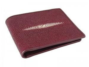 Мужской кошелек из кожи ската бордовый