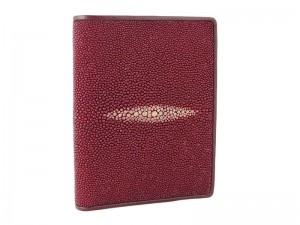 Красное портмоне из кожи морского ската