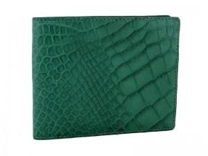 Зеленый мужской крокодиловый кошелек